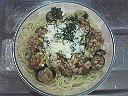 茄子と鶏挽肉のパスタ・トマト味